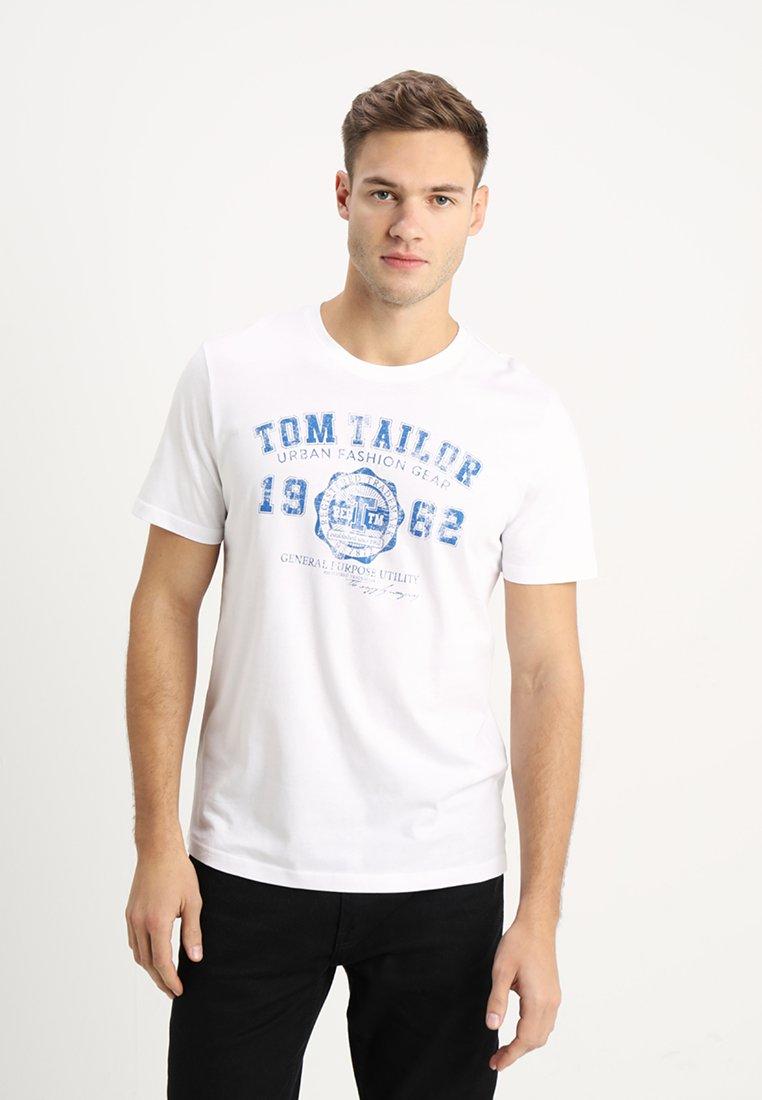 TOM TAILOR - LOGO TEE - Print T-shirt - white