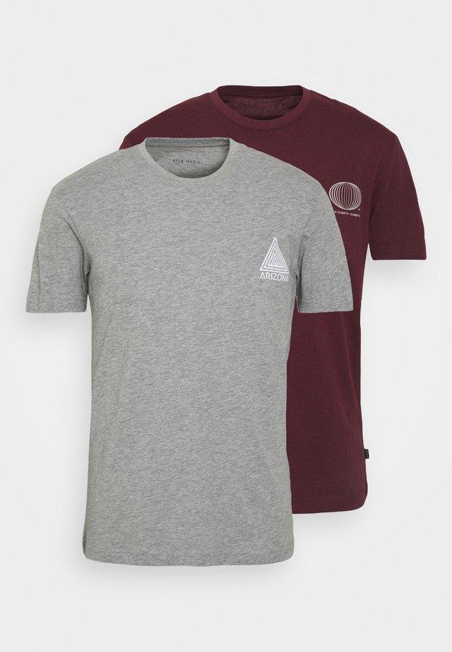 2 PACK - Print T-shirt - grey/bordeaux