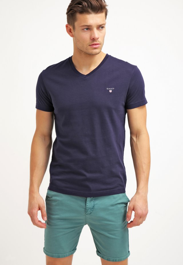 THE ORIGINAL SLIM V NECK - T-shirts - evening blue