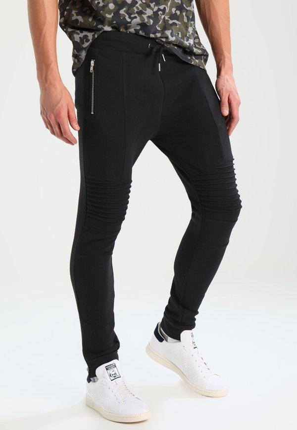 Pier One BIKER JOGGER - Spodnie treningowe - black/czarny Odzież Męska ULRL