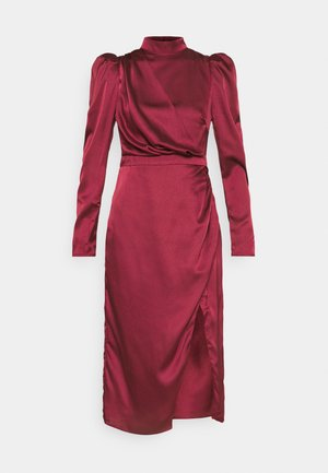 DRAPED WRAP MIDAXI DRESS WITH LONG SLEEVES HIGH NECK AND FRONT - Cocktailkjole - wine