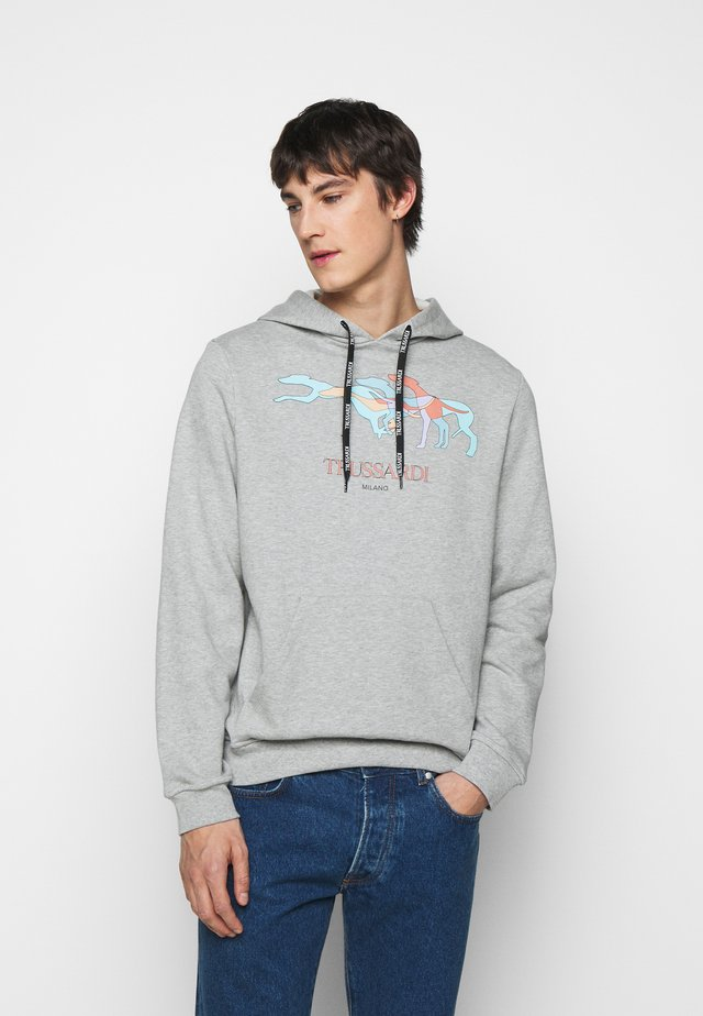 HOODIE BRUSHED FLEE - Jersey con capucha - mottled grey/light blue