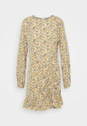 RUCHED SIDE BUTTON TEA DRESS FLORAL - Day dress - mustard