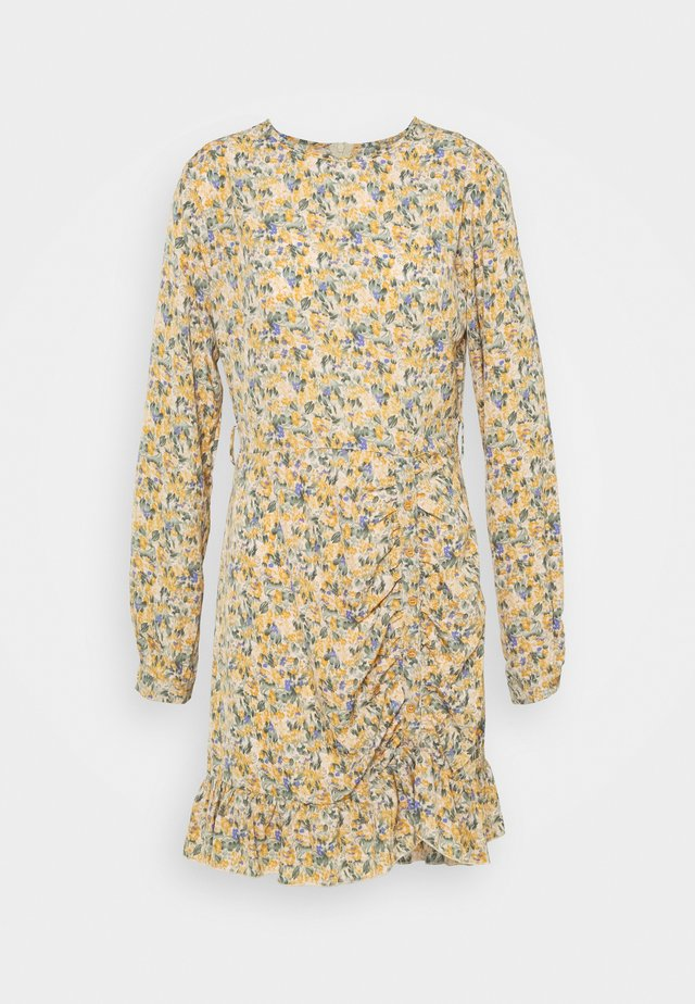 RUCHED SIDE BUTTON TEA DRESS FLORAL - Hverdagskjoler - mustard