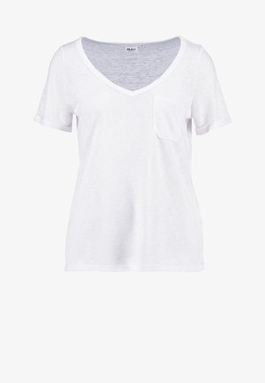 OBJTESSI SLUB V NECK - Basic T-shirt - white