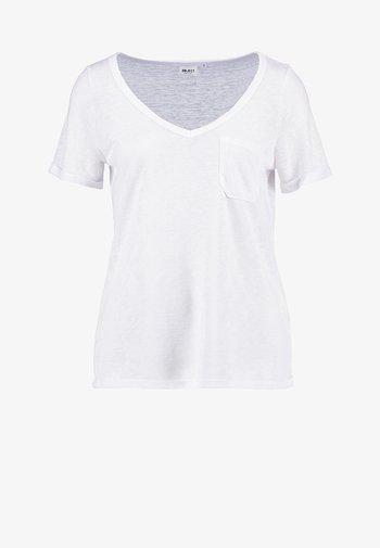 OBJTESSI SLUB V NECK - Basic T-shirt - white