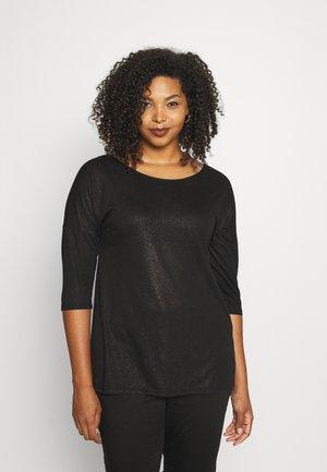 VMMAREN 3/4 BUTTON TEE - Basic T-shirt - black