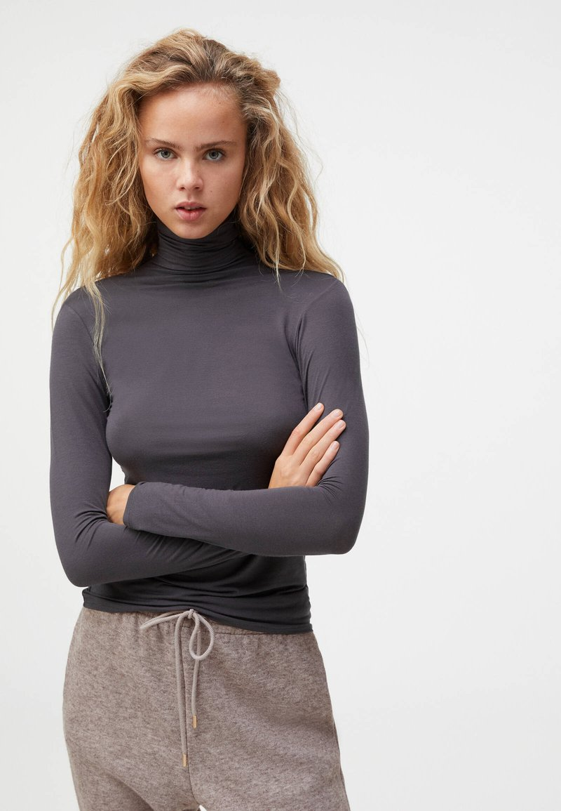 OYSHO - Long sleeved top - dark grey