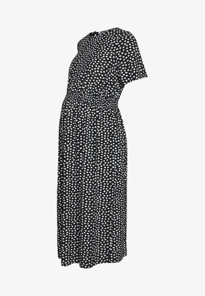 FLORAL SHIRRED WAIST MIDI DRESS - Sukienka letnia - black