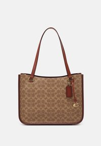 Coach - COATED SIGNATURE TYLER CARRYALL - Weekend bag - tan/rust - 1