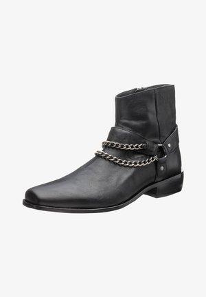 Cowboy/biker ankle boot - nappa black
