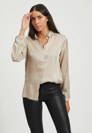 Button-down blouse - simply taupe