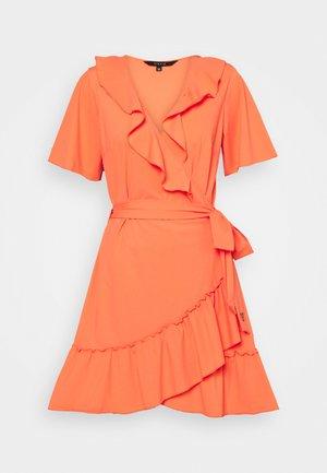 SUZY RUFFLE WRAP DRESS - Jerseykjole - solar