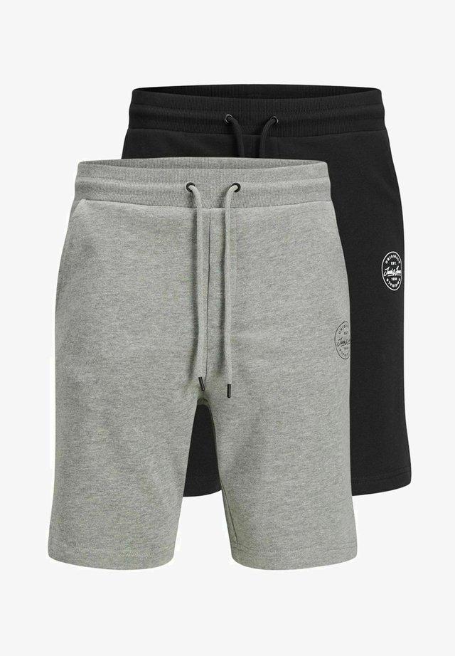 2 PACK - Shorts - black, mottled black, grey