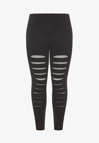 Yours Clothing - BLACK RIPPED MESH INSERT - Leggings - Trousers - black - 2