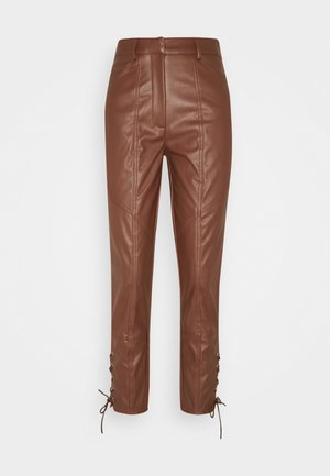 SIDE LACE UP PANTS - Kalhoty - brown