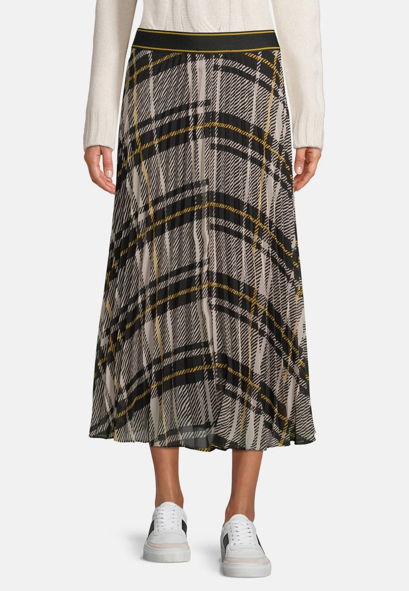 Betty & Co - MIT PRINT - A-line skirt - schwarz weiß