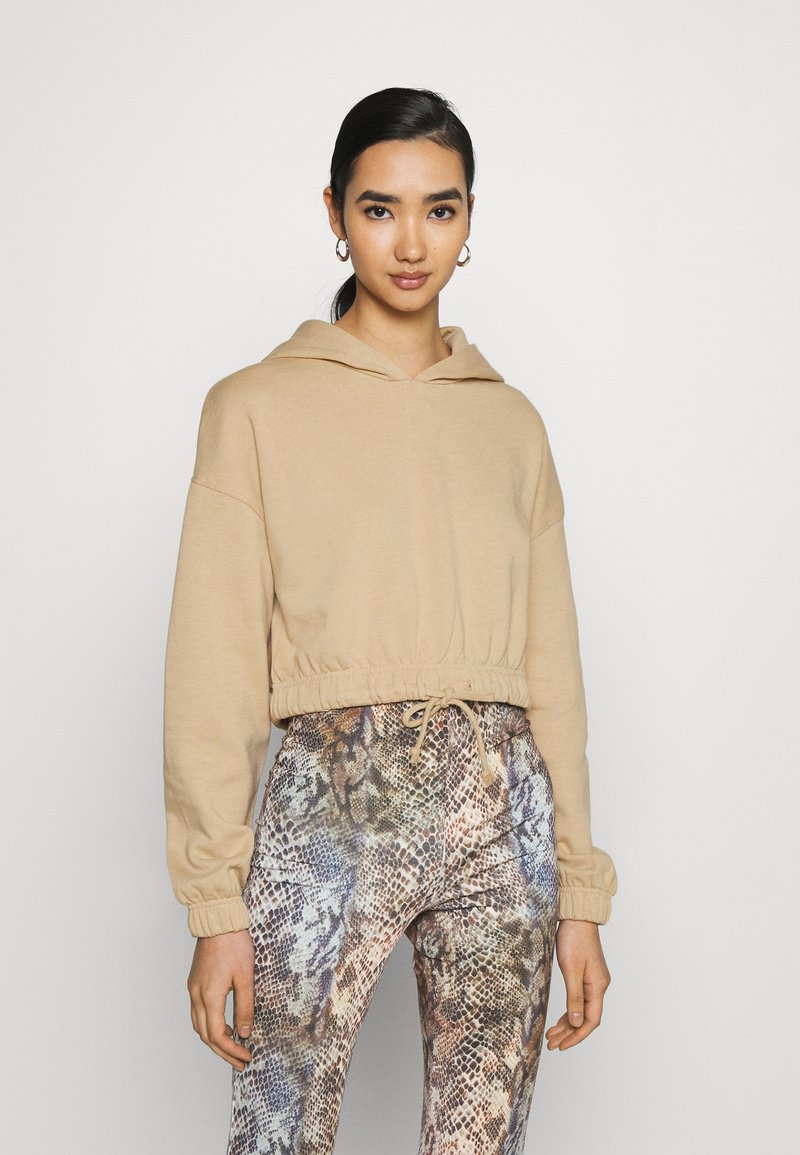 Even&Odd - Croppped Loose Fit Hoodie - Mikina skapucí - beige