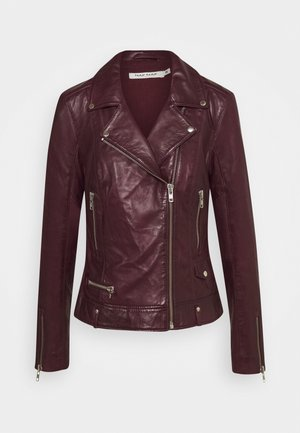 CAREN - Leather jacket - berry