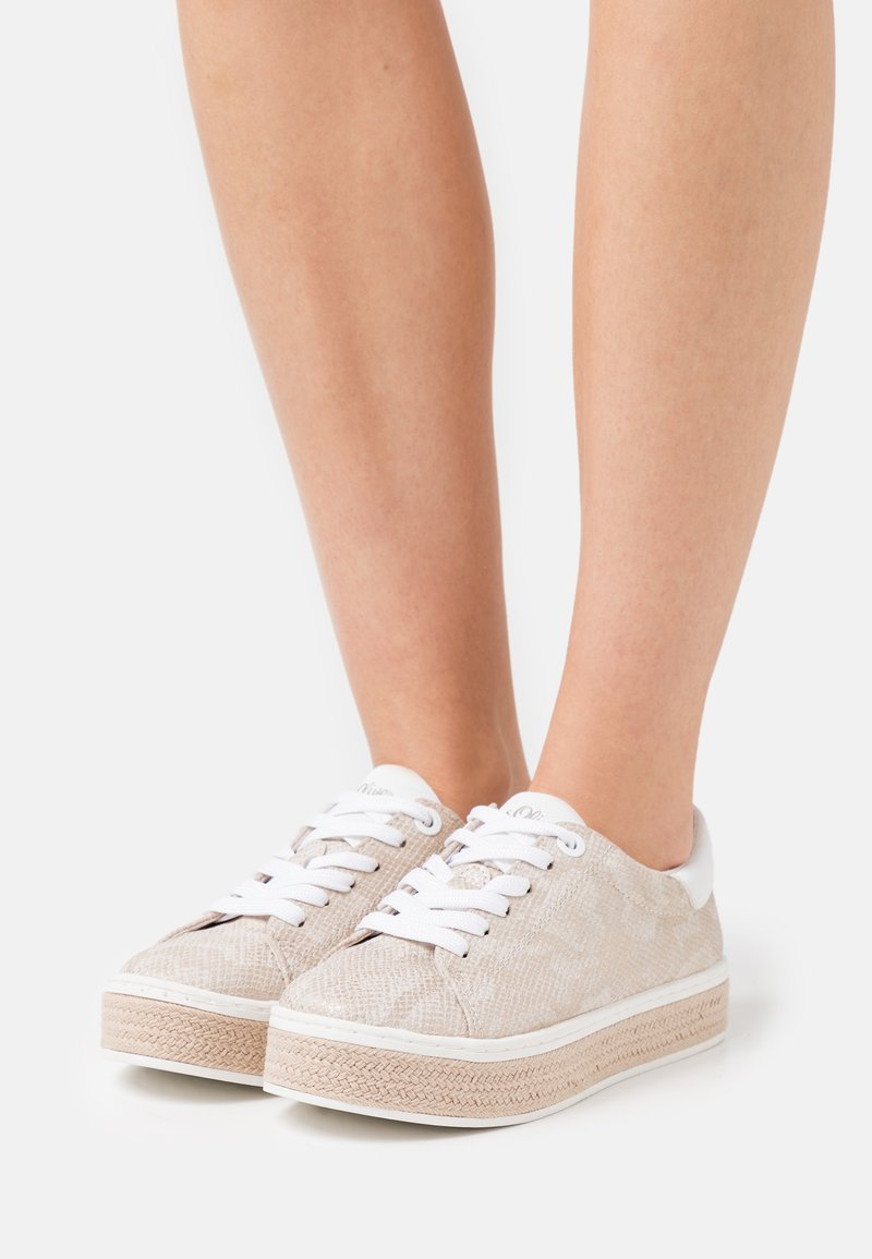 s.Oliver - LACE UP - Trainers - beige