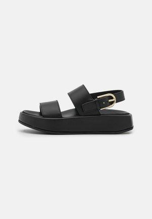 REAL FUSBET - Platform sandals - nero/pergamena