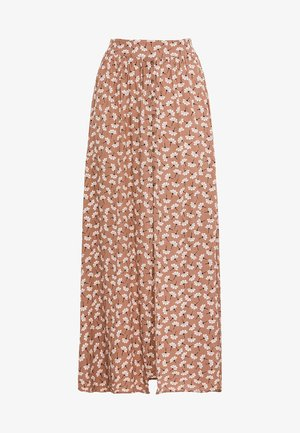 MIT STREUBLUMENPRINT - Maxi skirt - beige