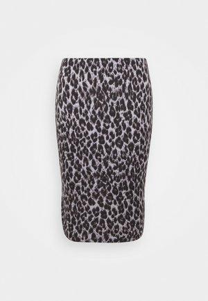 LEOPARD PRINT MIDI TUBE SKIRT - Pencil skirt - black/grey