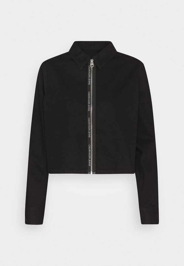CROPPED ZIP FRONT  - Button-down blouse - black