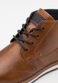 Pier One - LEATHER - Lace-up ankle boots - cognac - 5