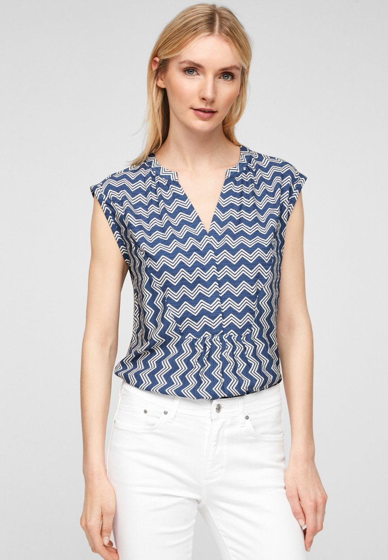 s.Oliver - Blouse - faded blue zic zac stripes