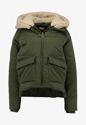 LADIES SHERPA HOODED JACKET - Winter jacket - dark olive/dark sand