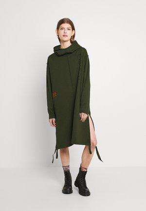 LONG DRESS - Day dress - dark bronze green