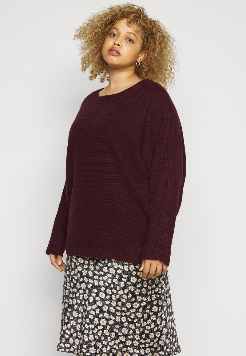 New Look Curves - EXPOSED SEAM CASH BAWTING - Jumper - dark burgundy