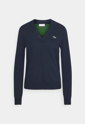 VNECK - Jumper - navy blue/green