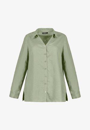 Leinen - Button-down blouse - teichgrün