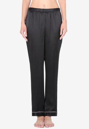 LANGE HOSE AUS SATIN UND SEIDE - Pyjama bottoms - black