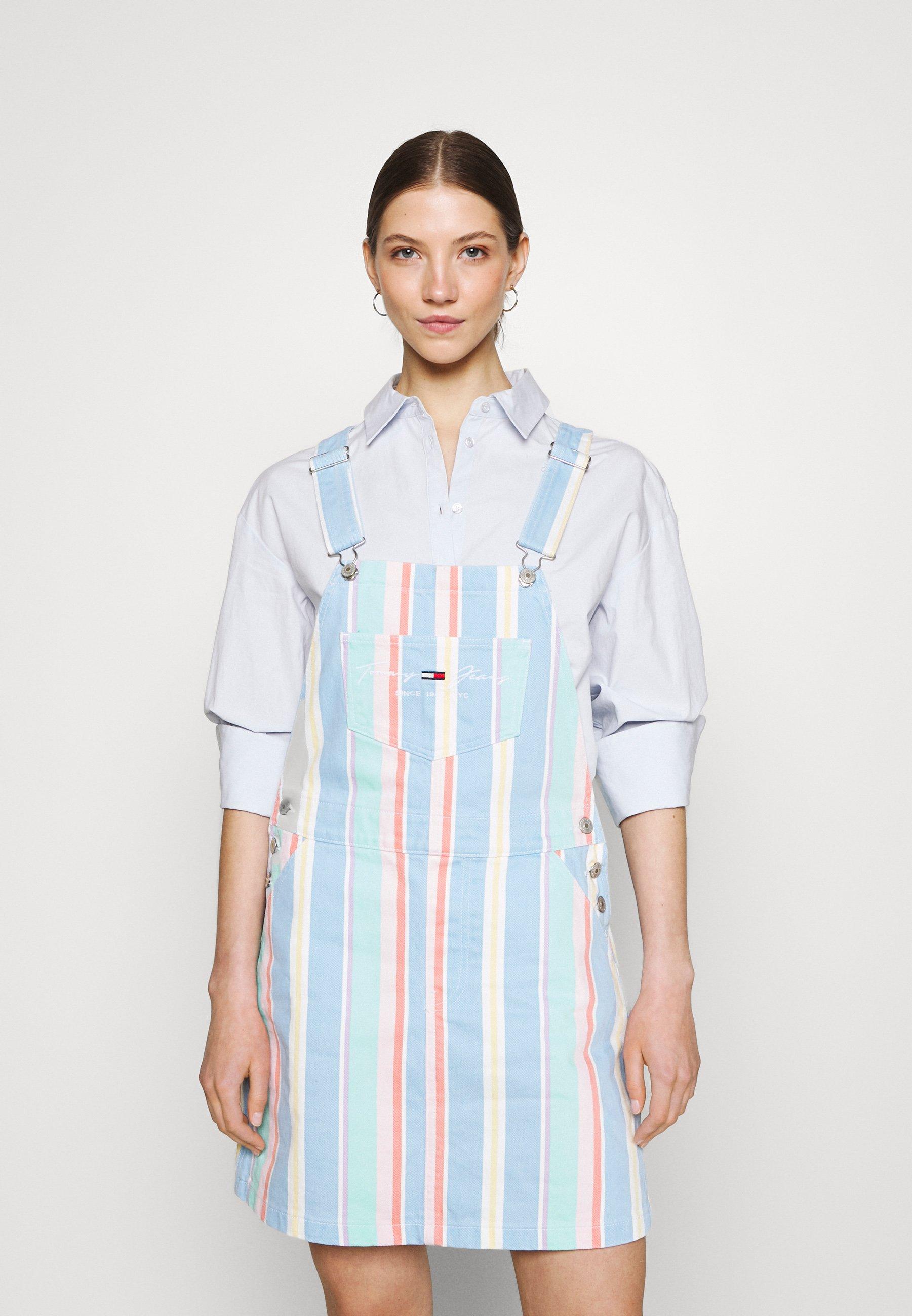Women STRIPE DUNGAREE DRESS - Denim dress