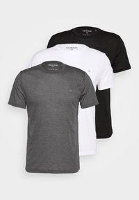 3 PACK - Basic T-shirt - black/white/charcoal
