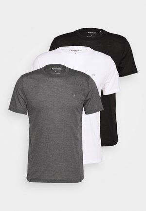 3 PACK - T-shirts basic - black/white/charcoal