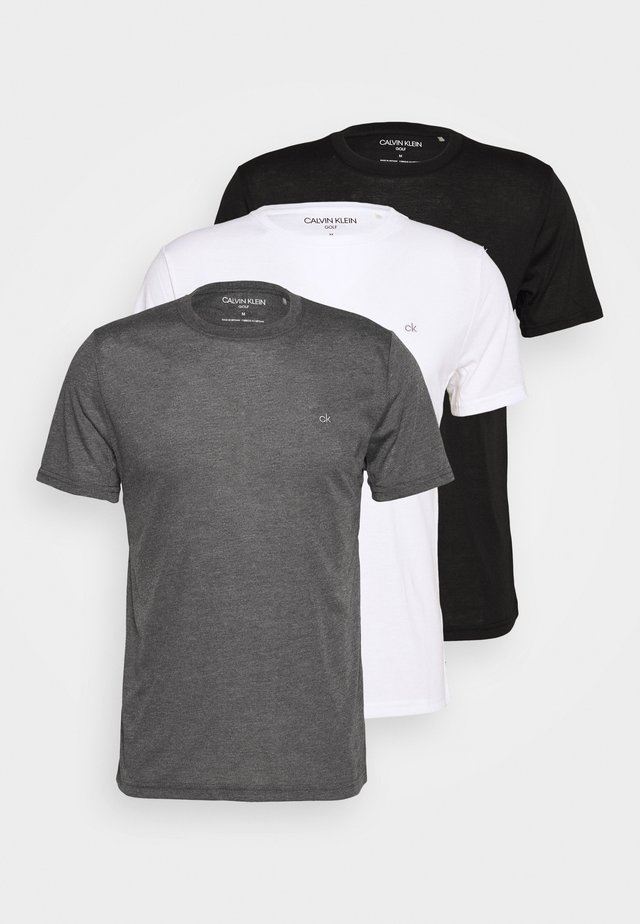 3 PACK - T-shirt - bas - black/white/charcoal