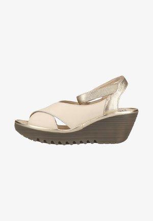 Sandalen met sleehak - offwhite/gold