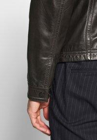 Strellson - FLAG - Leather jacket - dark brown - 5