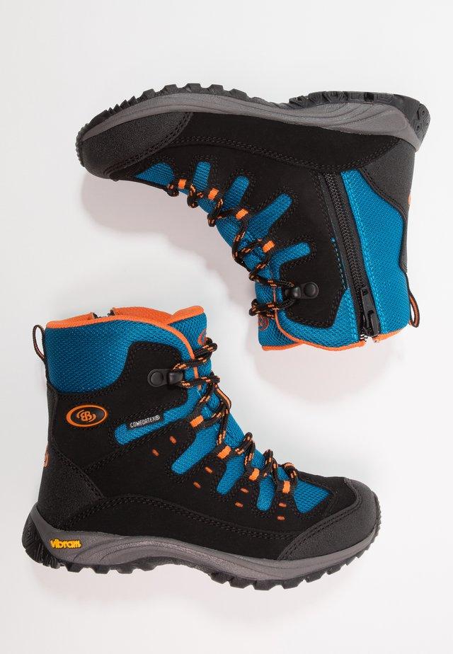 SALADO - Winter boots - schwarz/petrol/orange