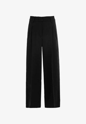 HIGH-WAIST MIT BUNDFALTEN - Trousers - schwarz