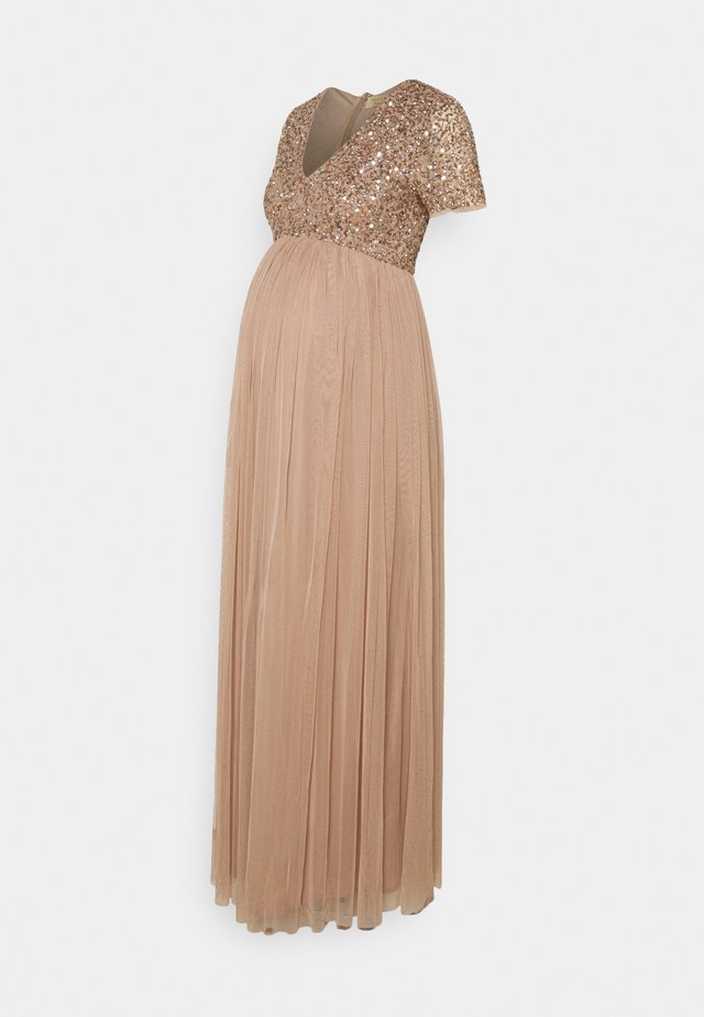 V NECK SHORT SLEEVE DELICATE SEQUIN MAXI DRESS - Maxi dress - taupe blush
