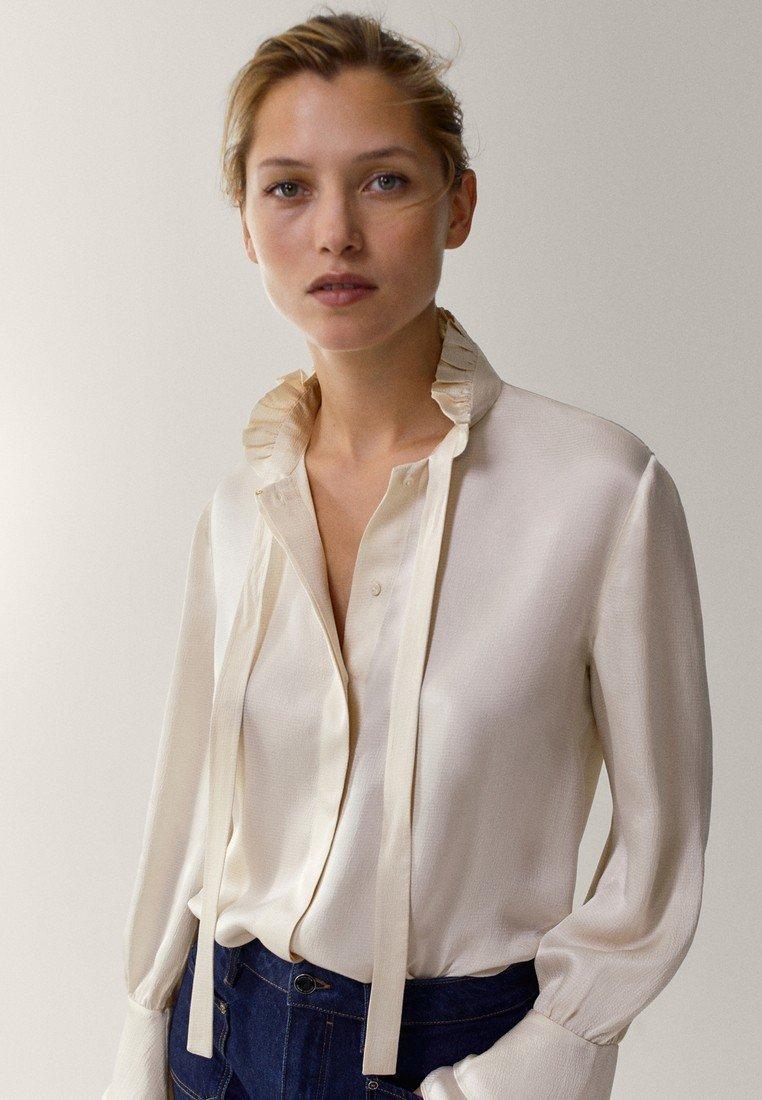 Massimo Dutti - MIT VOLANT - Button-down blouse - white