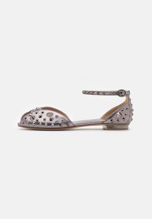 Peeptoe ballet pumps - pewter