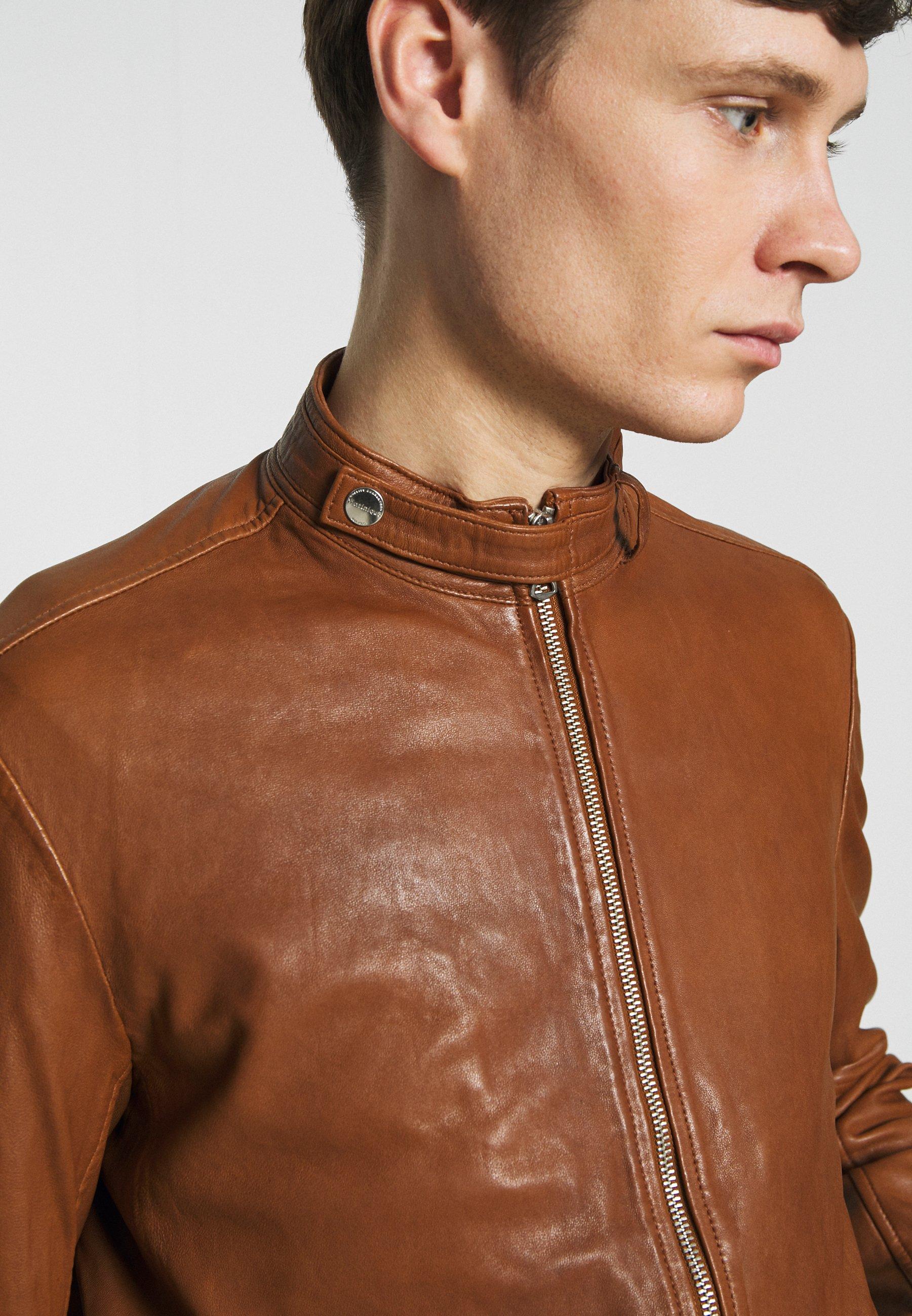Matinique ADRON - Veste en cuir - cognac