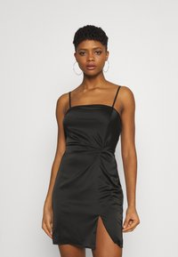 Missguided - SQUARE NECK TWIST FRONT MINI DRESS - Cocktail dress / Party dress - black - 0