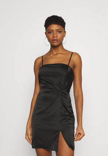 SQUARE NECK TWIST FRONT MINI DRESS - Cocktailkjole - black